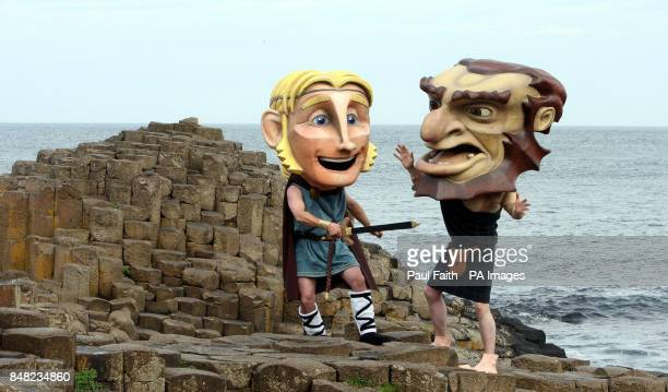 Fairytale giant Finn McCool battles with a Scottish giant Donar at the Giant's Causeway County Antrim to mark the opening of the new pound185m...