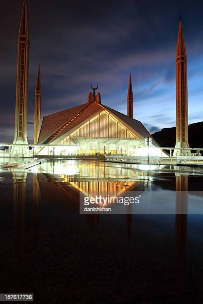 Faisal Mosque in Pakistan at dusk