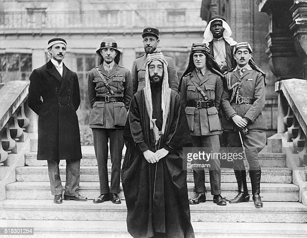 Faisal son of Hussain of Mecca with his delegates and advisors at the Versailles peace conference in 1919 Faisal was briefly king of Syria and later...