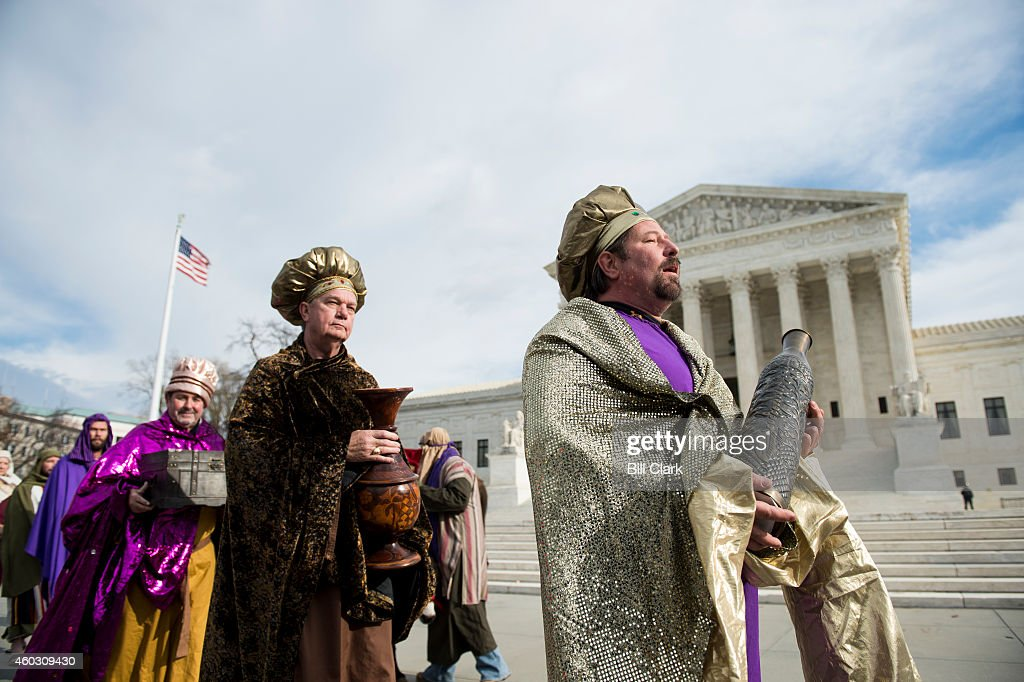Faith and Action holds its annual 'Live Nativity on Capitol Hill,' on Thursday, Dec. 11, 2014, in front of the Supreme Court. The event included actors portraying Mary, Joseph and the Baby Jesus, the three Wise Men, shepherd boys, a drummer boy, townsfolk, 2 live camels, and a donkey.