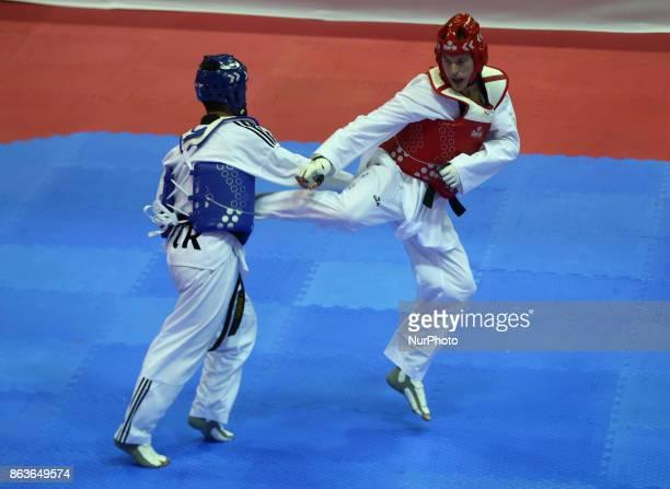 Faith Celikof Turkey against Vladimir Feofanov of Russia in the K44 M ale K44 75 Match 127 during 7th World Para Taekwondo Championships 2017 at...
