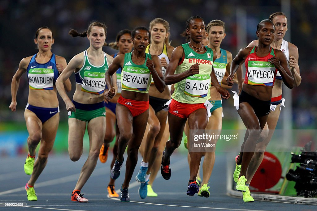 Faith Chepngetich Kipyegon of Kenya Besu Sado of Ethiopia and Dawit Seyaum of Ethiopia compete in the Women's 1500 meter semifinals on Day 9 of the...