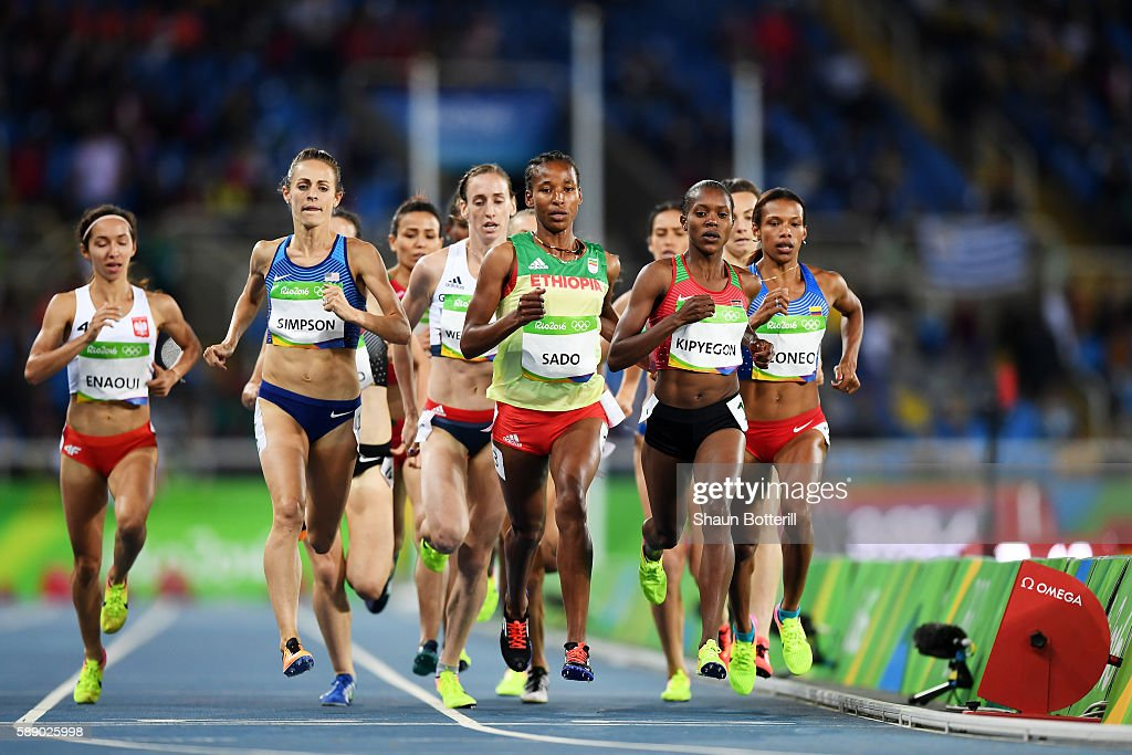 Faith Chepngetich Kipyegon of Kenya Besu Sado of Ethiopia and Jennifer Simpson of the United States compete in round one of the Women's 1500 metres...