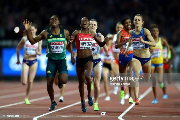Faith Chepngetich Kipyegon of Kenya gold Jennifer Simpson of the United States silver and Caster Semenya of South Africa bronze cross the finishline...