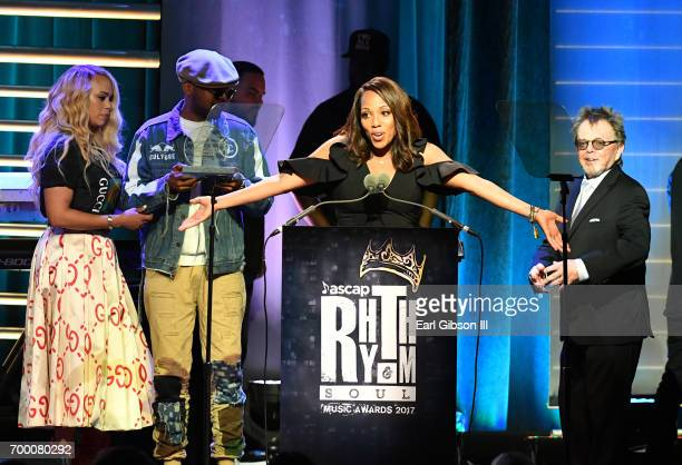 Faith Evans and CJ Wallace accept the Founders Award on behalf of Notorious BIG from ASCAP President Paul Williams and Vice President Rhythm Soul/...