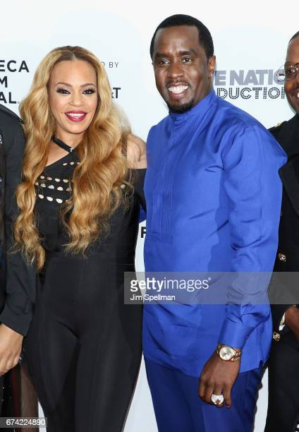Faith Evans and rapper/actor Sean Combs attend the world premiere of 'Can't Stop Won't Stop A Bad Boy Story' cosupported by Deleon Tequila during the...