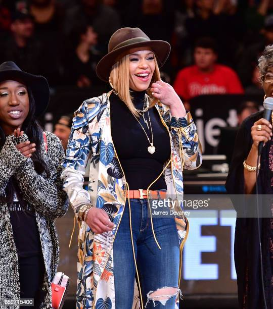 Faith Evans attends New York Knicks Vs Brooklyn Nets game at Barclays Center of Brooklyn on March 12 2017 in New York City