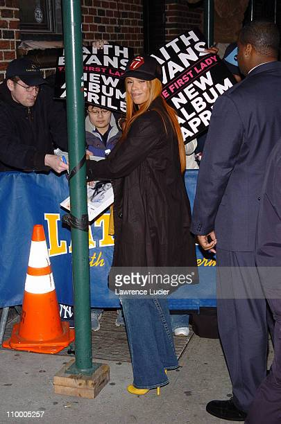 Faith Evans during Denzel Washington and Faith Evans Appear Outside The Late Show with David Letterman at Ed Sullivan Theater in New York City New...