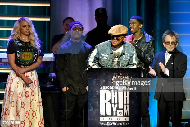 Faith Evans Justin Combs CJ Wallace and Christian Combs accept the Founders Award on behalf of Notorious BIG from ASCAP President Paul Williams...