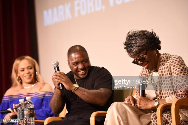 Faith Evans Lil' Cease and Voletta Wallace speak onstage at the screening of AE 'Biography Presents Biggie The Life Of Notorious BIG' at DGA Theater...