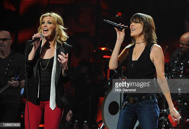 Faith Hill and the Pretenders' Chrissie Hynde perform during the CMT Crossroads Live from 'Pepsi Super Bowl Fan Jam' at Verizon Theater on February 5...