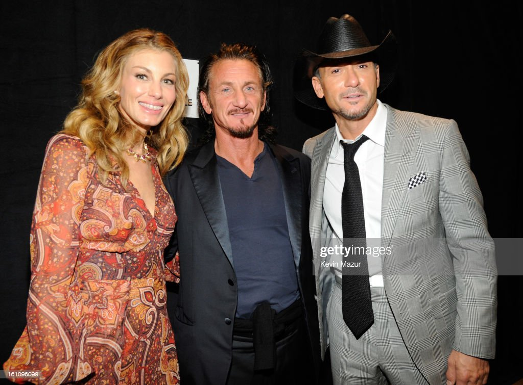 Faith Hill, Sean Penn and Tim McGraw attend MusiCares Person Of The Year Honoring Bruce Springsteen at Los Angeles Convention Center on February 8, 2013 in Los Angeles, California.
