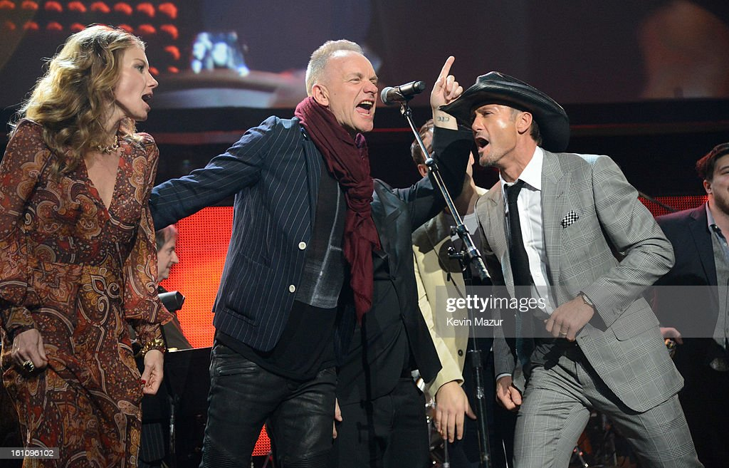 Faith Hill, Sting and Tim McGraw perform onstage at MusiCares Person Of The Year Honoring Bruce Springsteen at Los Angeles Convention Center on February 8, 2013 in Los Angeles, California.
