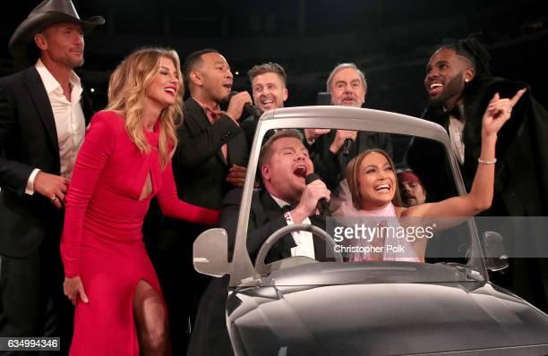 Faith Hill Tim McGraw John Legend GRAMMY Awards host James Corden Ryan Tedder of OneRepublic Jennifer Lopez Neil Diamond and Jason Derulo during The...