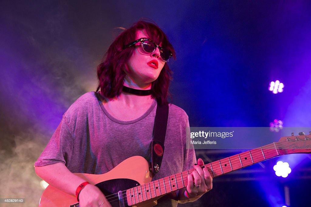 Faith Holgate of Pins performs on stage at Deer Shed Festival at Baldersbey Park, Topcliffe on July 25, 2014 in Thirsk, United Kingdom.