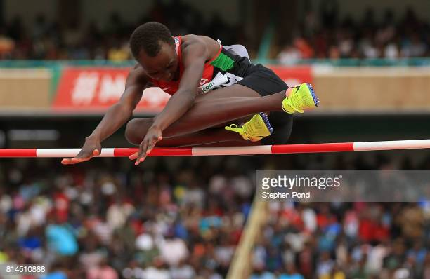 Faith Jepkemboi Kipsang of Kenya in action during the final of the girls high jump on day three of the IAAF U18 World Championships at the Kasarani...