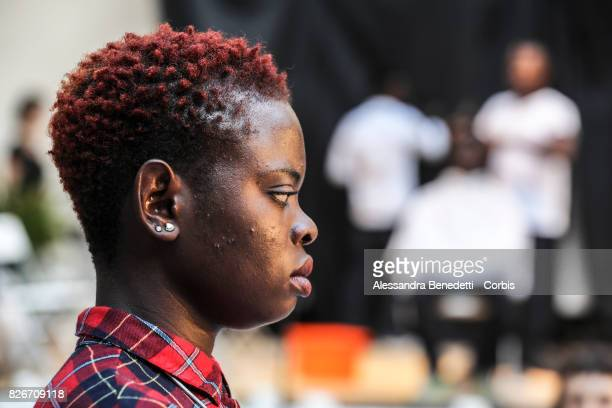 Faith Okunbor from Nigeria attend the rehearsal of AfricaBar stage show on July 31 2017 in Rome Italy Aim of this project was to give asylum seekers...
