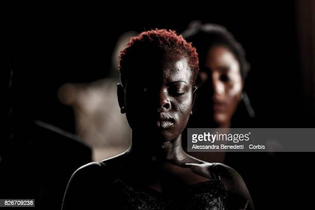 Faith Okunbor from Nigeria performs AfricaBar stage show on July 31 2017 in Rome Italy Aim of this project was to give asylum seekers a stage for...