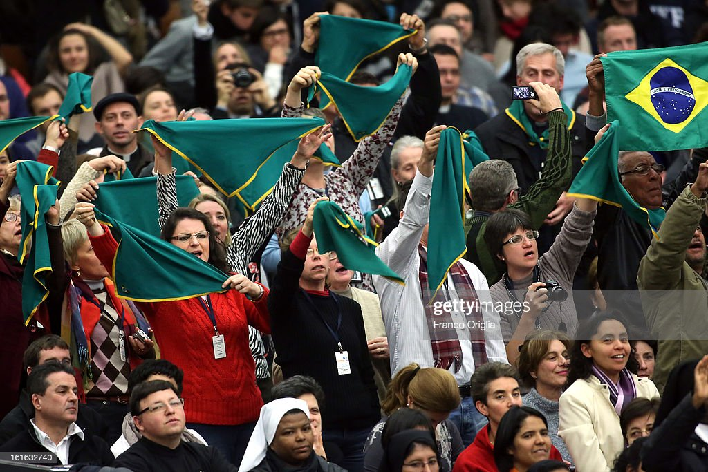 Faithful from Brasil attend Pope Benedict XVI's weekly audience on February 13, 2013 in Vatican City, Vatican. The Pontiff will hold his last weekly public audience on February 27 at St Peter's Square after announcing his resignation earlier this week.