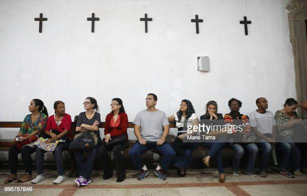 Faithful gather at the annual feast of Saint Anthony of Padua at the Santo Antonio convent on June 13 2017 in Rio de Janeiro Brazil Around 80000...