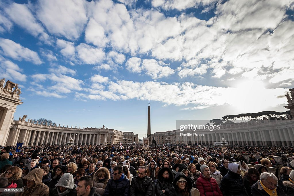 Faithful gather in St. Peter's Square before the arrival of Pope Francis for an audience to the Padre Pio Prayer Groups at the Vatican. Padre Pio became famous for bearing the stigmata, which are the marks of Christ, for most of his life, thereby generating much interest and controversy. He was both beatified (1999) and canonized (2002) by Pope John Paul II.