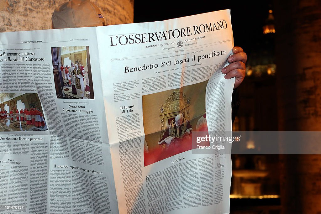 A faithful reads a special edition of the 'Osservatore Romano' (Official Vatican newspaper) announcing the retirement of the Pope in St. Peter's Square on February 11, 2013 in Vatican City, Vatican. Pope Benedict XVI today announced that he is to retire on February 28 citing age related health reasons.