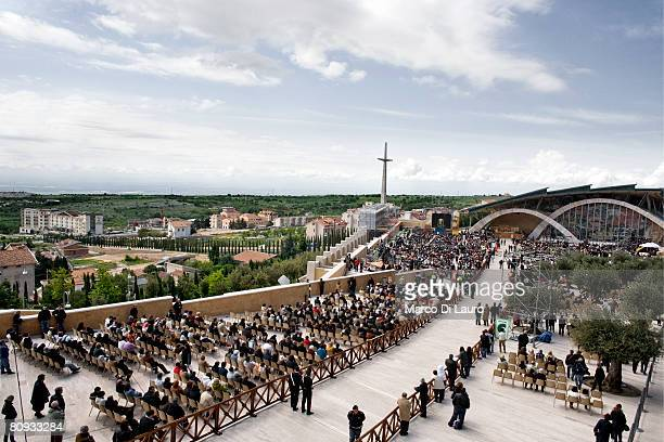 Faithfuls attend the Mass to celebrate the display and veneration of the body of Padre Pio in front of the church of San Pio designed by Italian...