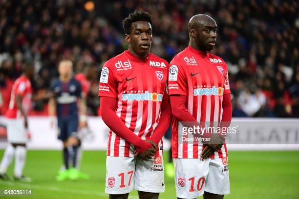 Faitout Maouassa and Issiar Dia of Nancy during the French Ligue 1 match between Paris Saint Germain and Nancy at Parc des Princes on March 4 2017 in...