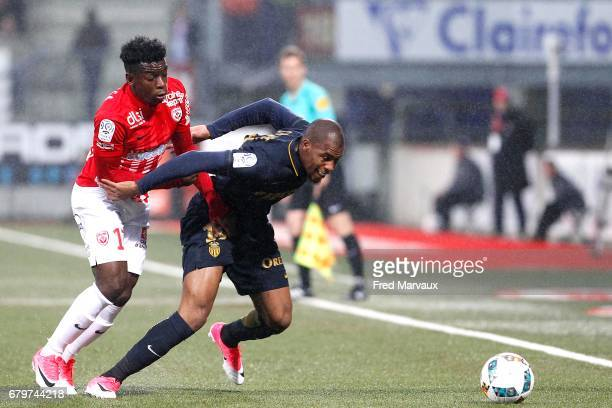 Faitout Maouassa of Nancy and Djibril Sidibe of Monaco during the Ligue 1 match between As Nancy Lorraine and As Monaco at Stade Marcel Picot on May...