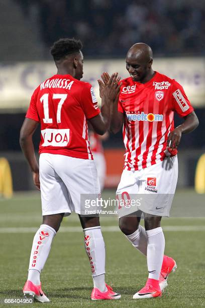 Faitout Maouassa of Nancy and Issiar Dia of Nancy celebrates scoring his first goal during the Ligue 1 match between As Nancy Lorraine and Stade...