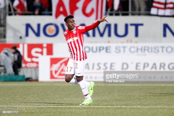 Faitout Maouassa of Nancy celebrates scoring his goal during the French League match between Nancy and Lorient at Stade Marcel Picot on March 18 2017...