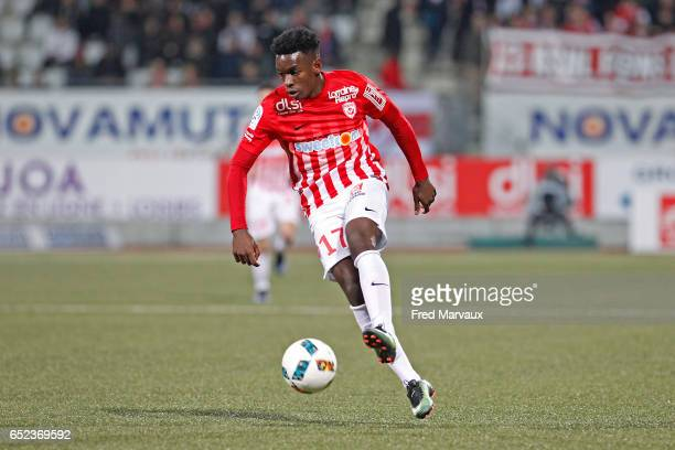 Faitout Maouassa of Nancy during the Ligue 1 match between As Nancy Lorraine and Lille OSC at Stade Marcel Picot on March 11 2017 in Nancy France