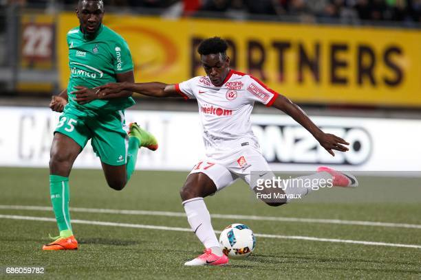 Faitout Maouassa of Nancy scores a goal during the Ligue 1 match between AS NancyLorraine and AS SaintEtienne at Stade Marcel Picot on May 20 2017 in...