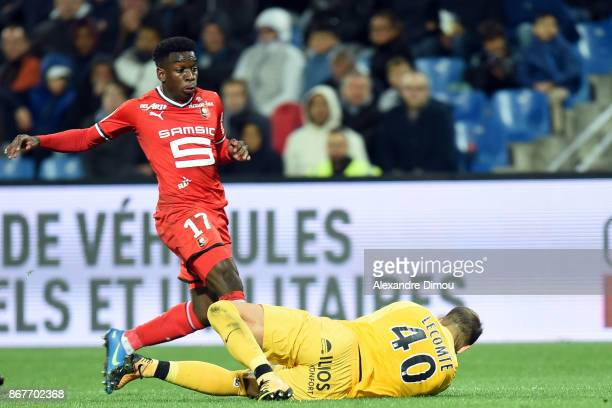 Faitout MAOUASSA of Rennes and Benjamin Lecomte of Montpellier during the Ligue 1 match between Montpellier Herault SC and Stade Rennais at Stade de...
