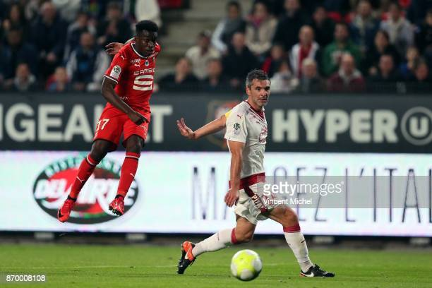 Faitout Maouassa of Rennes and Jeremy Toulalan of Bordeaux during the French Ligue 1 match between Rennes and Bordeaux at Roazhon Park on November 3...