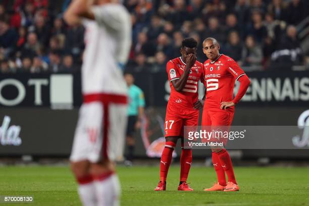 Faitout Maouassa of Rennes and Wahbi Khazri of Rennes during the French Ligue 1 match between Rennes and Bordeaux at Roazhon Park on November 3 2017...