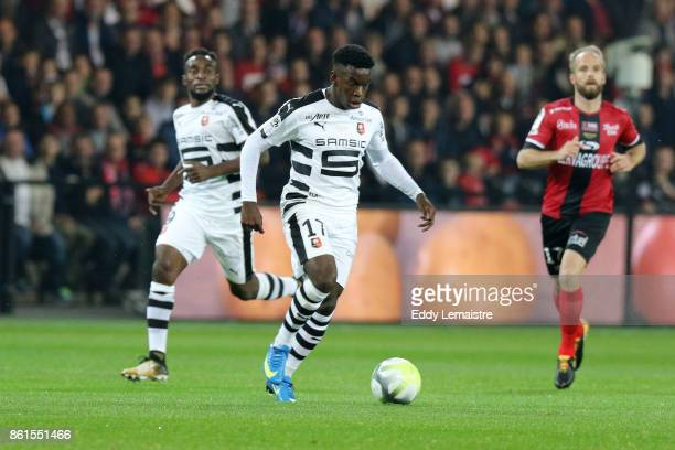 Faitout Maouassa of Rennes during the Ligue 1 match between EA Guingamp and Stade Rennais at Stade du Roudourou on October 14 2017 in Guingamp