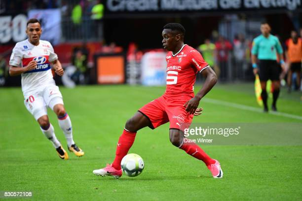 Faitout Maouassa of Rennes during the Ligue 1 match between Stade Rennais and Olympique Lyonnais at Roazhon Park on August 11 2017 in Rennes