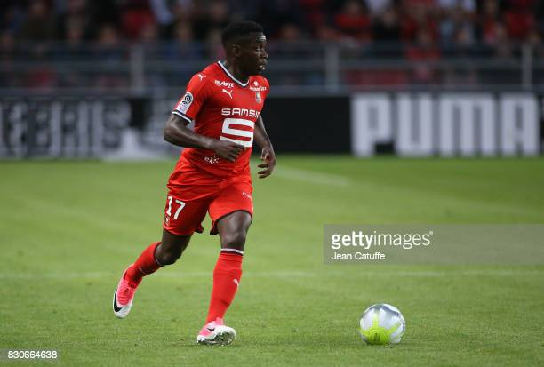 Faitout Maouassa of Stade Rennais during the French Ligue 1 match between Stade Rennais and Olympique Lyonnais at Roazhon Park on August 11 2017 in...