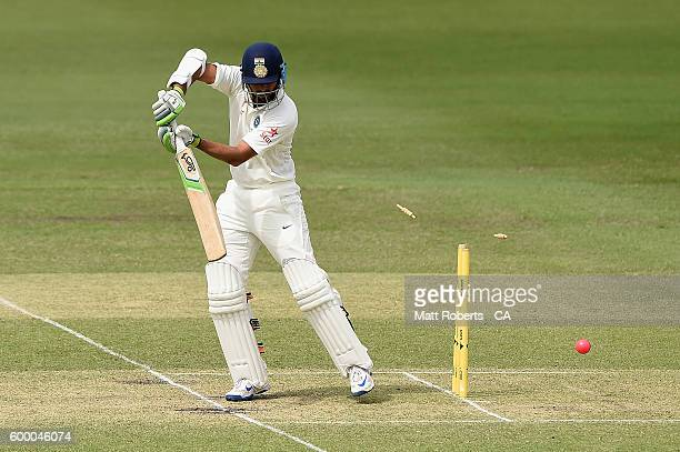 Faiz Fazal India A is bowled by David Moody of Australia A during the Cricket Australia Winter Series match between Australia A and India A at Allan...