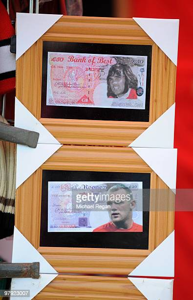 Fake banknotes featuring Wayne Rooney and George Best on sale outside the stadium before the Barclays Premier League match between Manchester United...