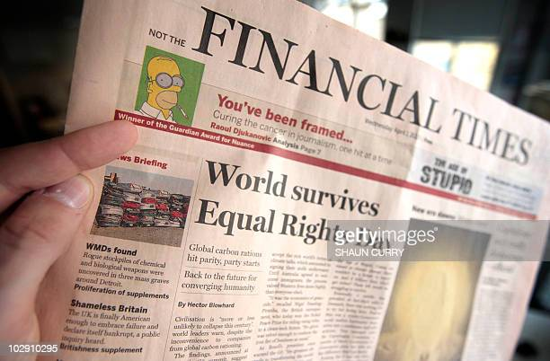 A fake copy of the Financial Times is pictured in central London on March 27 2009 Critics of next week's G20 summit produced a spoof edition of the...