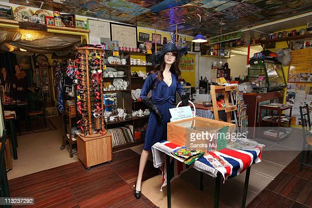 A fake Kate Middleton wearing a replica engagement dress greets customers at Corogate Cafe on April 28 2011 in Auckland New Zealand New Zealanders...