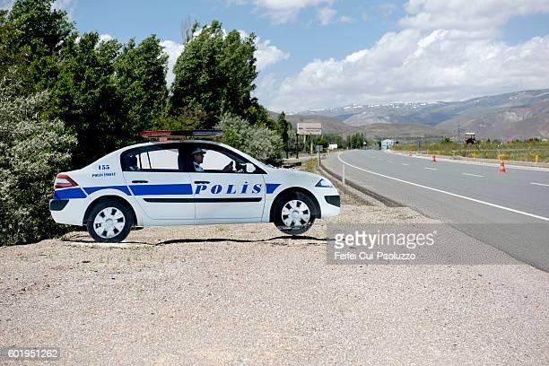 Fake Police car imitation at roadside near Erzincan