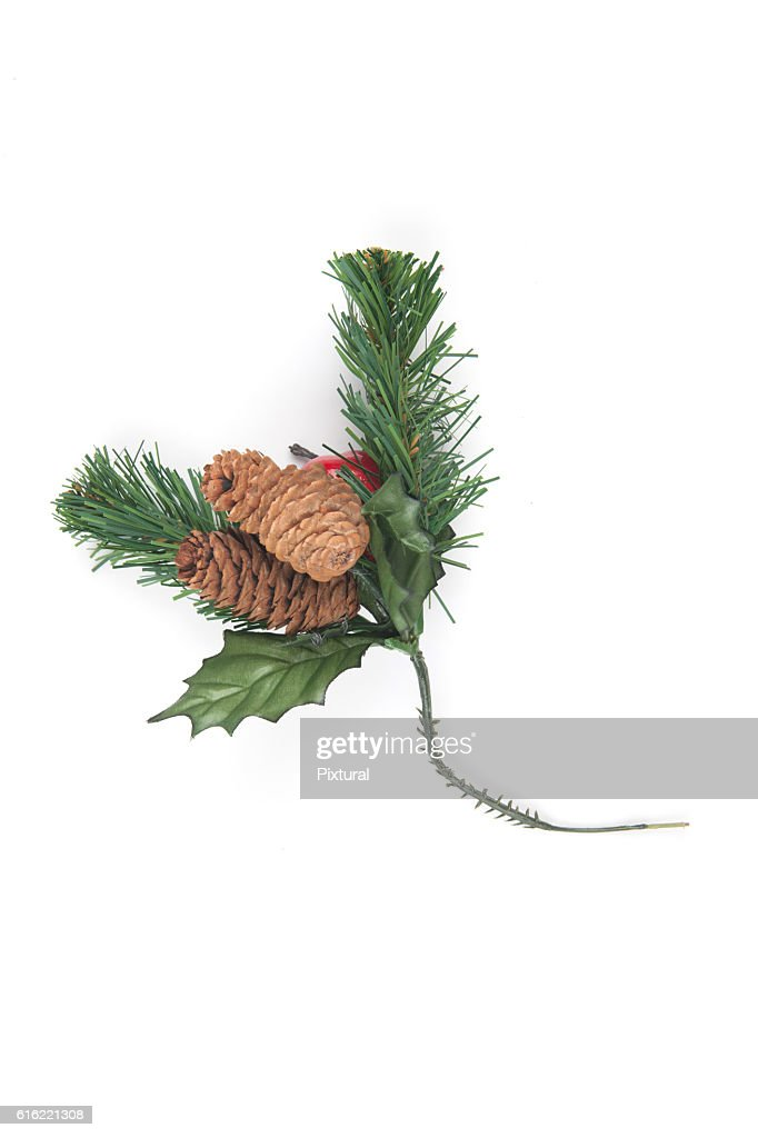 Fake Spruce cones on a spruce branch, Christmas decorations. : Stock Photo
