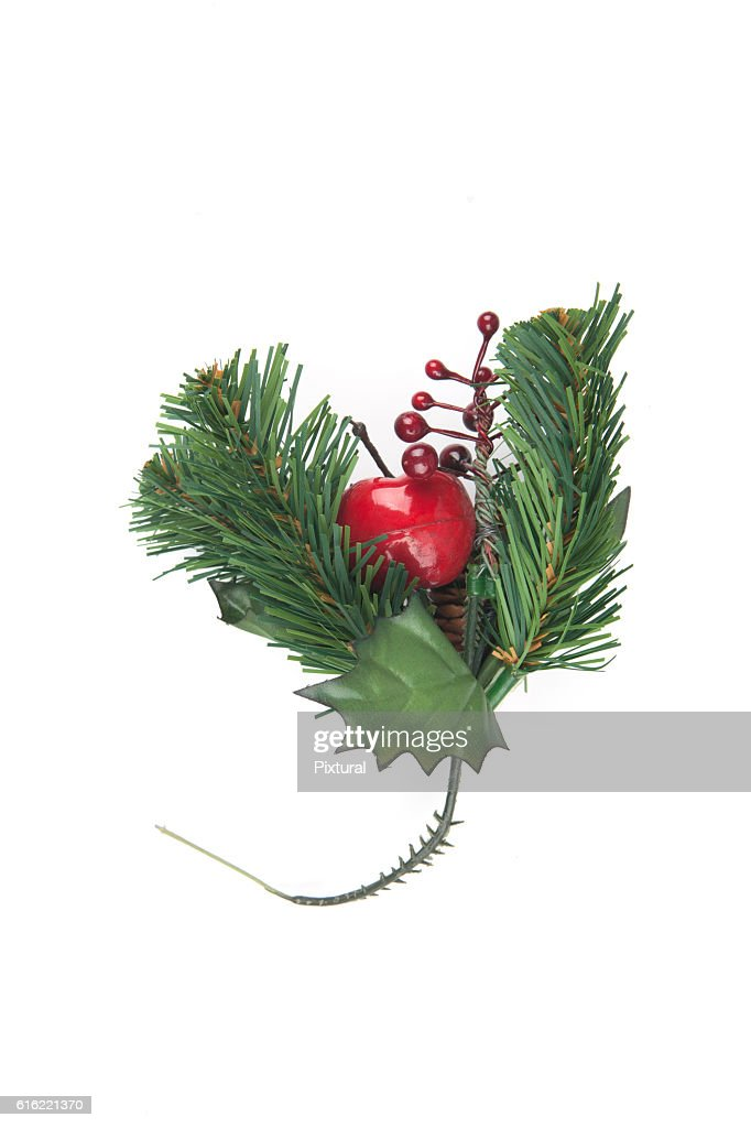 Fake Spruce cones on a spruce branch, Christmas decorations. : Stockfoto