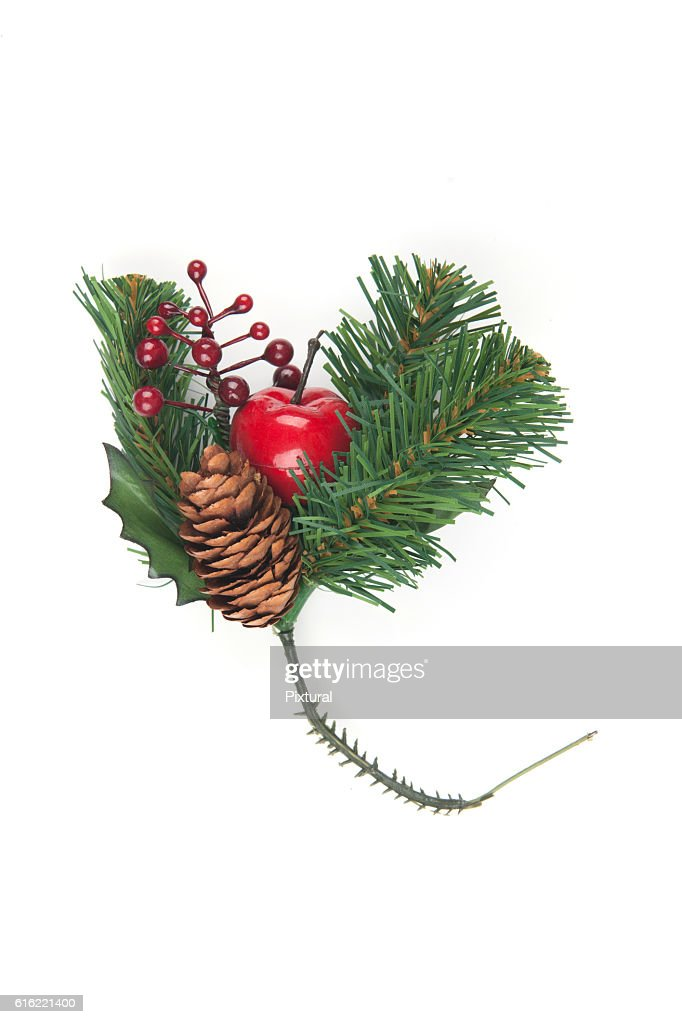 Fake Spruce cones on a spruce branch, Christmas decorations. : ストックフォト