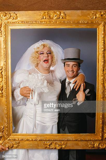 Fake wedding ceremony of French standup comedians Coluche and Thierry Le Luron