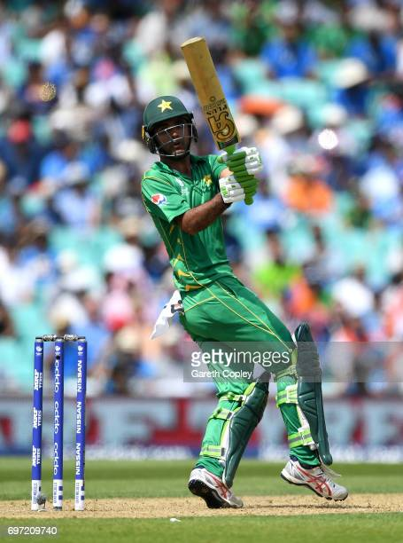Fakhar Zaman of Pakistan bats during the ICC Champions Trophy Final between India and Pakistan at The Kia Oval on June 18 2017 in London England