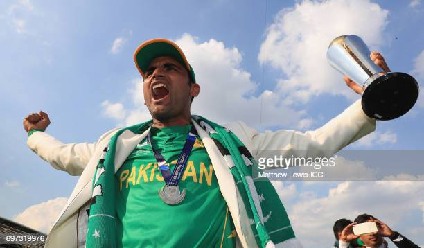 Fakhar Zaman of Pakistan celebrates his teams win over India during the ICC Champions Trophy Final between Pakistan and India at The Kia Oval on June...
